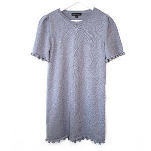 Banana Republic gray knit pom pom mini dress, XS
